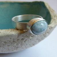 Larimar Sterling silver ring, handmade metalwork, natural jewelry