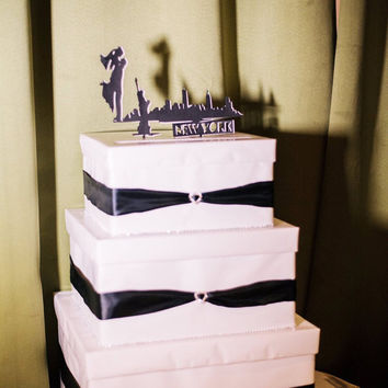 Three tier Wedding Cake Card Box, Bridal Shower, Card holder, Ribbon, Bride, Groom, Money Box, Card Box Holder, Custom made Order, NYC