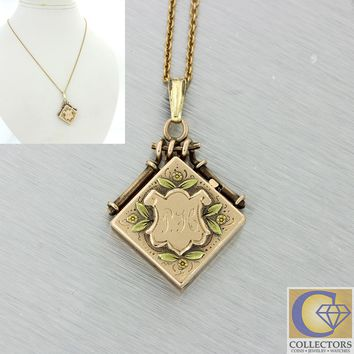 1880s Antique Victorian 14k Solid Rose Yellow Gold Flower Square Locket Necklace