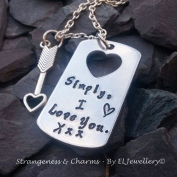 Hand stamped 'Simply, I Love You' Small Aluminium Dog Tag Necklace with Heart cut out, Valentines Gift, Couples Gift, Metal Jewellery, Love.
