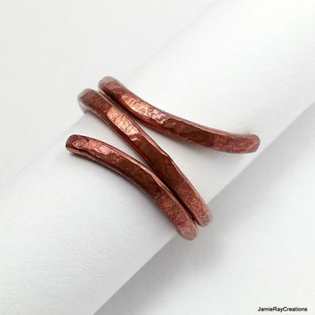 Raw Copper Wire Ring, Heavy Rustic Hammered Copper Ring, Thick Solid Copper Artisan Ring, Recycled Textured Patina Copper Wrap Ring Size 6.5