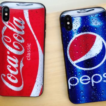 PEPSI print phone shell phone case for Iphone 6/6s/6p/7p/7/8/8p/X