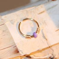 Small Nose Ring, Lilac Beaded Nose Ring, Nose Hoop, Hoop Earring, Cartilage Hoop, Endless Hoop, Seamless Hoop, Piercing Jewelry, Hoop