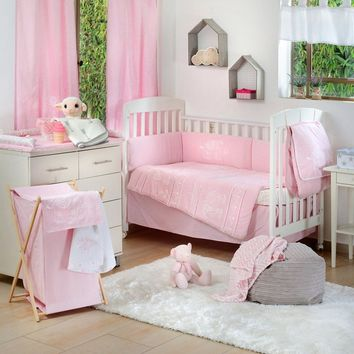 Pink Elephant Patchwork Crib Bedding Collection Crib Bedding Set