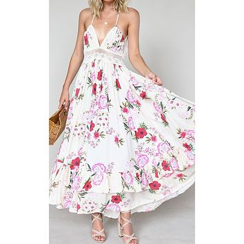 Flower Show White Pink Floral Pattern Sleeveless Spaghetti Strap V Neck Lace Trim Cut Out Back Ruffle A Line Casual Maxi Dress