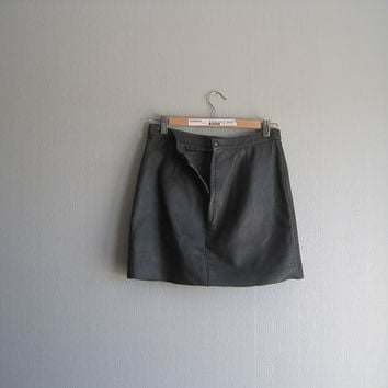 Mini skirt leather black grey up cycled size XS