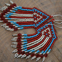 CHANDELIER EARRINGS victorian  DANGLE earrings statement  long seed beads beaded fringe red silver blue native fringe diamond earrings