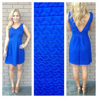 Royal Blue Texture Sleeveless Dress