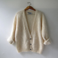 Vintage Cream Button Up Cardigan. Mohair Wool Chunky Sweater. Preppy Oversized Sweater Cardigan