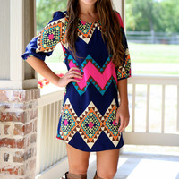 Pop of Pink Aztec Shift Dress