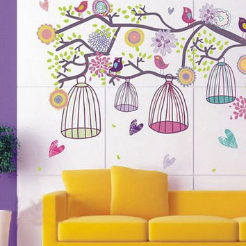 Large Pink Purple Bird Cage Tree Branch Wall Decal Sticker Home Decor Vinyl Art Removeable