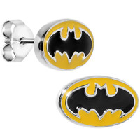 Officially Licensed Batman Yellow Stud Earrings | Body Candy Body Jewelry
