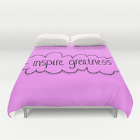 Purple - Bed Spread - Duvet Cover - Inspire Greatness - Motivational - Inspirational - Bed Cover - Cover Only - Bedding - Made to Order