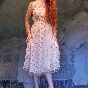 Post war bridal gown / Cream sheer lace with brown detailing / vintage wedding or 'Going Away' boho bridesmaid / fairytales come true