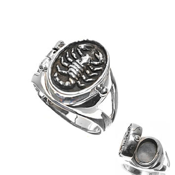 925 Sterling Silver Scorpion Locket Ring