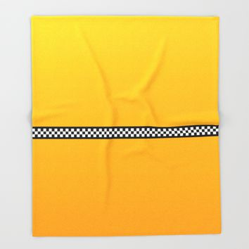 NY Taxi Cab Yellow with Black and white check stripe Throw Blanket by podartist