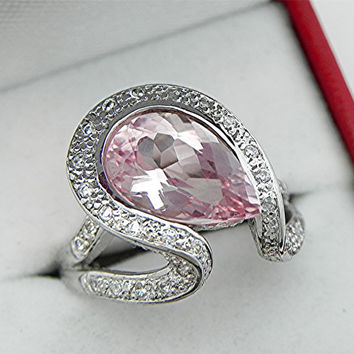 AAAA 4.91ct Pink Pear shape Morganite  14 x9mm set in 14K white gold diamond (.50ct)  Engagement ring. 1820
