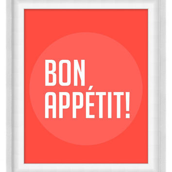 Printable Poster: Bon Appetit - Vertical 8x10 - Digital Wall Art