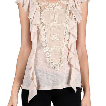 Victoria Ruffle & Lace Sleeveless Top