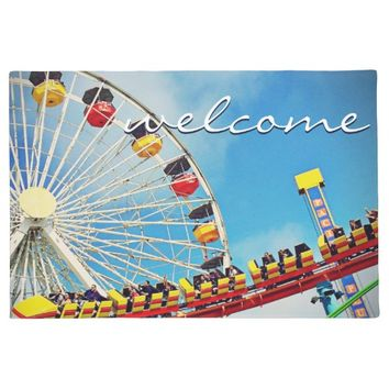 """Welcome"" fun ferris wheel & coaster photo doormat"