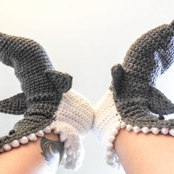 Crochet Shark Slippers - Adult Men Sizes 6-12 - Grey Crochet House Shoes