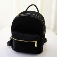 Women Gold Velvet Small Rucksack Backpack School Book Shoulder Bag Chic Street Mochila Feminina CF
