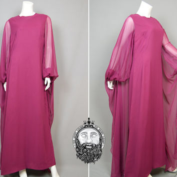 Vintage 70s Magenta Pink Silk Chiffon Maxi Dress Evening Gown Cape Angel Sleeve British Boutique Ursula Bernard 1970s Boho Hippie Goddess