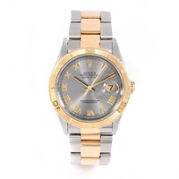 ROLEX BOX & PAPERS 36mm Stainless Steel & 18k Yellow Gold Datejust Thunderbird - 16263 - Slate Roman Dial - Turn-O-Graph Bezel - Oyster Band (Certified Pre-owned)