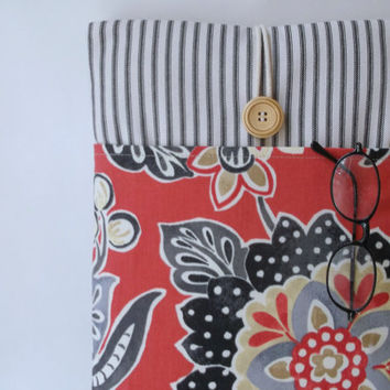 """Red MacBook Case Cord Pocket, 13 . 3 inch Mac Book  Air Womens Sleeve, Girls Padded Laptop Bag, Ladies Padded Cover, 13  """"  Stripes Flowers"""