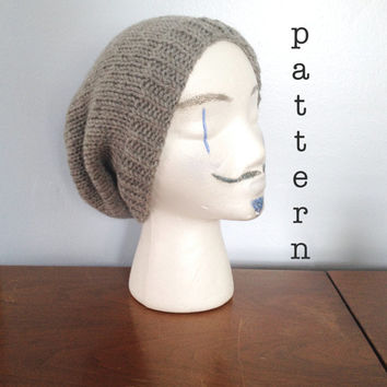KNIT PATTERN - Knit Men's Slouchy Beanie - Knitting Patterns - Beanie Pattern - Knit Slouchy Beanie Pattern - Men's Beanie - Man Slouch Hat