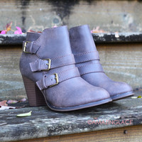 Serena Chic Distressed Brown Buckle Ankle Booties