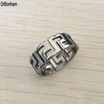 Never Fading Hollow Greek key Mens Ring