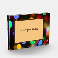 Multicolored Christmas lights. Add photo. Photo Block