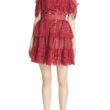 Self-Portrait Off the Shoulder Guipure Lace Dress | Nordstrom