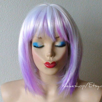 White / Lavender/ Purple wig. Fantasy white hair with Lavender / Purple color highlighted wig. Cosplay wig. Costume wig.