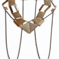 Bliss Lau Black Stamped Brass Kinetic Body Chain Necklace
