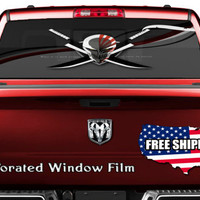 Anime Figure Quote Decal Full Color Print Perforated Film Truck SUV Back Window Sticker Perf004