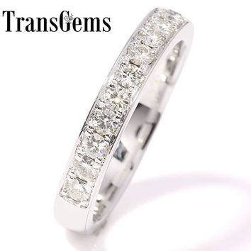 TransGems Sparkling 0.455 CTW F Color Lab Grown Moissanite Diamond Half Eternity Wedding Band in Solid 14K White Gold for Women