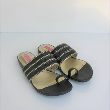 Toe Ring Sandal Black ISAAC MIZRAHI New York Bailey Woven Sandals 5