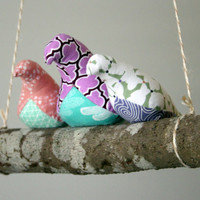 3 Birds on a Branch Swing - 3 fabric birds on a real branch - porch, sunroom, home decor, woodland nursery decor
