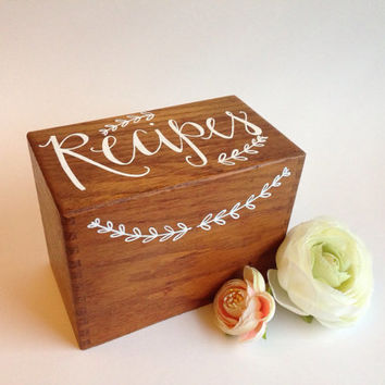 Shop vintage recipe box on wanelo handwritten vintage dovetail recipe box thecheapjerseys Image collections