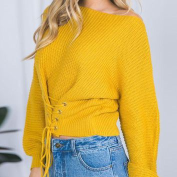 DCCK7XP Yellow Lace-up Corset Front Rib Knit Sweater