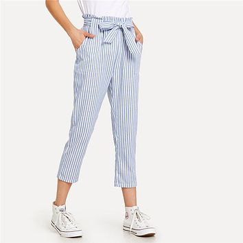 SERENA STRIPED ANKLE PANTS