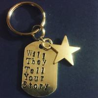 Will They Tell Your Story Hamilton The Musical Aluminum Key Ring with Star Charm