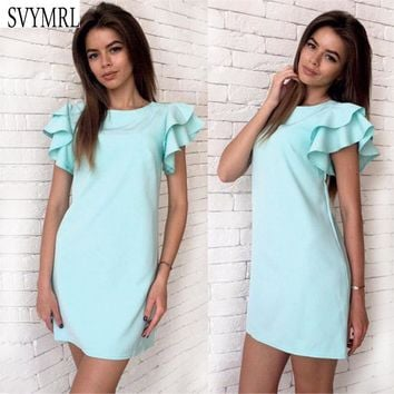 Svymrl 2017 New Fashion Womens Summer Sexy Backless Beach Party Club Dress Butterfly Sleeve Casual Mini Dress Vestidos