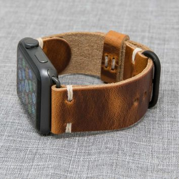 Apple Watch Band | Horween English Tan Dublin Leather Strap with Natural Thread | The Hudson Strap for Apple Watch