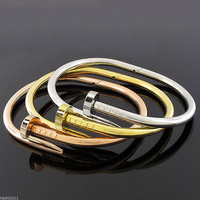 Nail Bangle Bracelet w/ easy open clasp size 6 to 6.5 Stainless Steel Trending