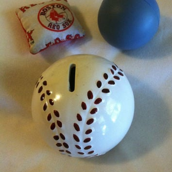 Baseball Bank Vintage Ceramic Hand Painted Red White Greenbrier Baseball Shaped Coin Bank Sports Themed Piggy Bank Mens Boys Mancave Gift