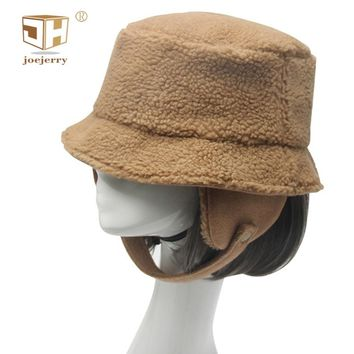 joejerry Winter Bucket Hat Women Berber Fleece Hat With Ear Flap Men Winter Fur Hats Cap 2018