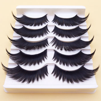 Black Winged Exaggerated False Eyelashes Soft Long Section Thick Cross Messy Lashes Performing Arts Stage Makeup Fake Eyelashes
